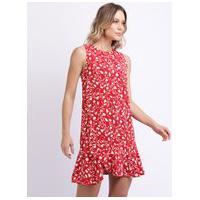 Vestido Feminino Curto Estampado Floral Com Babado Vermelho