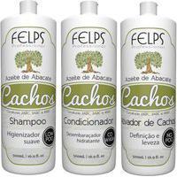 Kit Cachos Azeite De Abacate Felps Shampoo 500Ml+Condicionador 500Ml+Ativador 500Ml