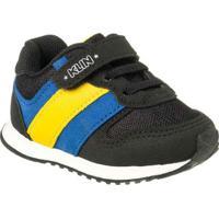 Tênis Infantil Klin Mini Walk Listras Masculino - Masculino-Preto