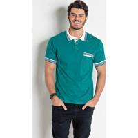 Camisa Polo Verde Turquesa Com Bolso E Listras