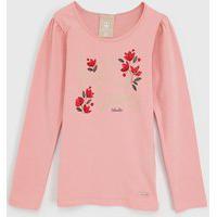 Blusa Colorittá Infantil Floral Rosa