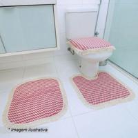 Jogo Para Banheiro Campestre- Vermelho Escuro & Branco