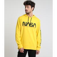 Camiseta Masculina Nasa Com Capuz Manga Longa Amarela
