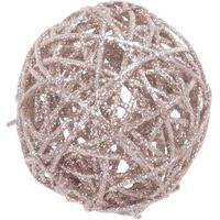 Bola Rattan Natalina Decorativa Arranjo 7,5 Cm Nude 1 Peça