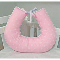 Almofada Amamentação Bebê Coroa Branca Rosa