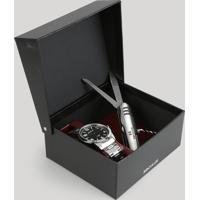 Kit De Relógio Analógico Seculus Masculino + Canivete - 28828G0Svna1K Prateado - Único