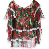 Dolce & Gabbana Blusa Floral Com Babados - Vermelho
