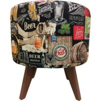 Puff Pé Palito Redondo Alce Couch Bali Beer Cerveja 40Cm Marrom