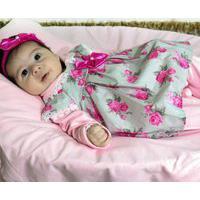 Saída De Maternidade Vanessa Floral Rosa 4 Peças