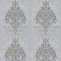Papel De Parede Arabescos- Verde & Cinza- 1000X52Cm