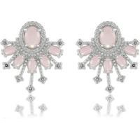 Brinco Cristal Quartzo Rosa