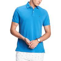 Polo Tommy Hilfiger Masculina Custom Fit Vallarta Blue