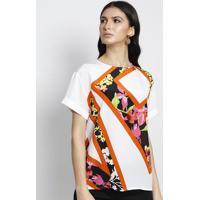 Blusa Em Seda - Off White & Laranja - Versaceversace