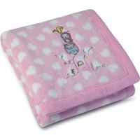 Manta Fleece Bordada Bebê Estampada Mini 76 Cm X 1,02 M Com 1 Peça - Lepper Rosa