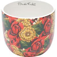 Cachepot Cerâmica Yellow Flower Vermelho 14X14X12 Cm Urban