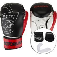 Kit De Boxe Pretorian: Bandagem + Protetor Bucal + Luvas De Boxe First - 12 Oz - Adulto - Preto/Vermelho