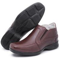 Sapato Social Confort Em Couro Marrom
