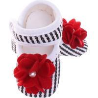Sapato Boneca Premium Listrado Baby Gut - Feminino-Branco
