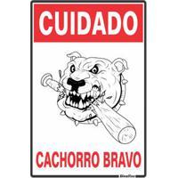 Placa De Sinalização 20X30Cm Cuidado Cachorro Bravo Sinalize