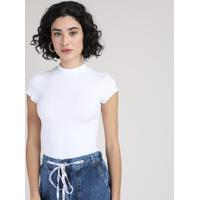 Blusa Feminina Canelada Com Frufru Manga Curta Gola Alta Branca