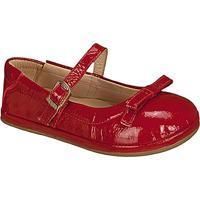 Sapato Boneca Em Couro Com Laã§O - Vermelha - Kidskimey