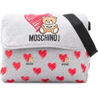 Moschino Kids Bolsa Maternidade Com Estampa De Coração - Cinza