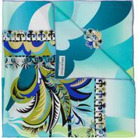 Emilio Pucci Lenço Com Estampa Gráfica De Seda - Azul