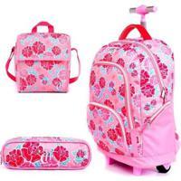 Mochila Escolar Capricho De Rodinhas Liberty Pink Dmw Com Nécessaire E Cooler Feminina - Feminino-Rosa