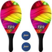 Kit Raquetes Frescobol Evo Fibra Vidro Color + 2 Bolas Penn - Unissex