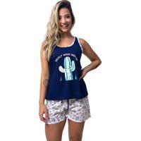 Pijama Baby Doll Rb Moda Caquito Azul Marinho Ref:057