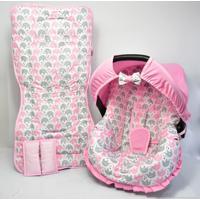 Conjunto Capa De Bebê Conforto E Capa De Carrinho Alan Pierre Baby 0 A 13 Kg - Passinho Do Elefantinho Rosa
