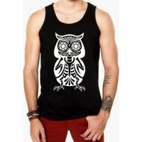 Camiseta Regata Criativa Urbana Caveira Coruja Mexicana - Masculino-Preto