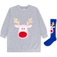 Wauw Capow By Bangbang Vestido Jingle & Par De Meias Rudolph - Cinza