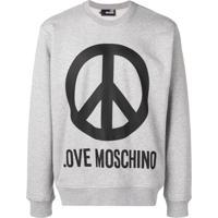 Love Moschino Moletom Com Logo - Cinza