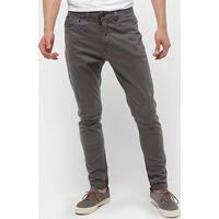 Calça Sarja Calvin Klein Color Five Pockets Masculina - Masculino-Chumbo