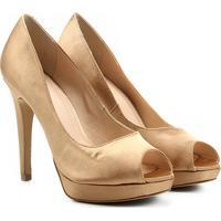 1cbf2a5de8 ... Peep Toe Shoestock Meia Pata Cetim - Feminino-Dourado