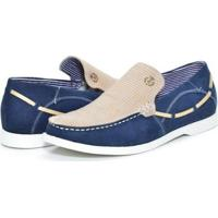 Mocassim Couro Shoes Grand Copacabana Masculino - Masculino-Azul+Bege