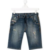 Diesel Kids Bermuda Jeans Desgastada - Azul