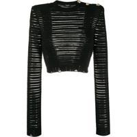 Balmain Blusa Translúcida Cropped Com Mangas Longas Caneladas - Preto