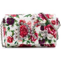 Dolce & Gabbana Kids Bolsa Tiracolo Floral De Couro - Branco