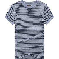 Camiseta Listrada Detail V - Cinza P