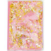 Caderno Capa Com Gel E Glitter Estrelas