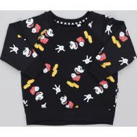 Blusão Infantil Mickey Estampado Em Moletom Preto