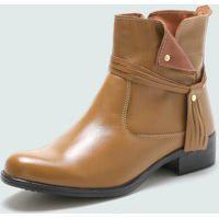 Bota Cano Curto Over Boots Urbana Couro Bege