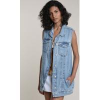 Colete Jeans Feminino Alongado Azul Médio