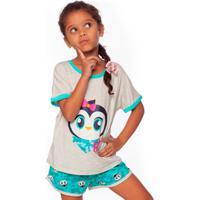 Pijama Curto I Love Pinguim Teen 8