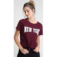 """Blusa Feminina """"New York"""" Com Nó Manga Curta Decote Redondo Vinho"""