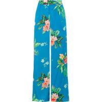 Calça Pantalona Cetim Floral Amissima - Azul
