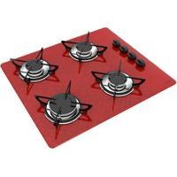 Cooktop A Gás Casavitra Excellence 4 Bocas Tetris Vermelho E10E43437 Bivolt Se