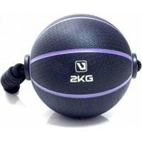 Bola Liveup De Peso Medicine Ball Ls3006E/2 Com Corda 2Kg - Unissex